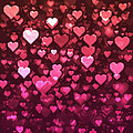 Vibrant Pink And Red Bokeh Hearts by Shelley Neff