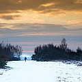 Vibrant Winter Sunrise Landscape Over Snow Covered Countryside by Matthew Gibson