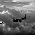 Vickers Wellingtons No 75 Squadron Black And White Version by Gary Eason