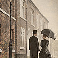 Victorian Couple On A Cobbled Street by Lee Avison