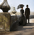 Victorian Couple Walking In The Grounds by Lee Avison