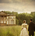 Victorian Couple Walking Towards A Country Manor House by Lee Avison