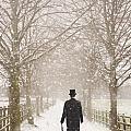 Victorian Gentleman In Snow by Lee Avison