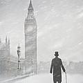 Victorian Man In London With Snow Walking Towards Big Ben by Lee Avison
