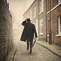 Victorian Man Running On A Cobbled Road by Lee Avison