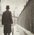 Victorian Man Walking Towards A Row Of Cottages by Lee Avison