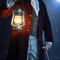 Victorian Man With Lantern At Night by Lee Avison
