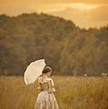 Victorian Woman In A Summer Meadow by Lee Avison
