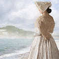 Victorian Woman On The Beach Looking Out To Sea by Lee Avison