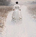 Victorian Woman Walking Through A Winter Meadow by Lee Avison