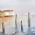 View From Murano Watercolor Painting Of Venice by Beverly Brown