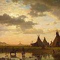 View Of Chimney Rock Ohalila .sioux Village In The Foreground by Albert Bierstadt