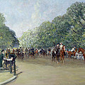 View Of Hyde Park With Figures On Rotten Row  by Albert Jnr Ludovici