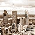 View Of Montreal In Sepia by Valentino Visentini