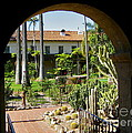 View Of Santa Barbara Mission Courtyard by Denise Mazzocco