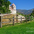 View Of Santa Barbara Mission by Denise Mazzocco