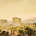 View Of Temples In Paestum At Syracuse by Giulio Ferrario