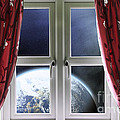 View Of The Earth Through A Window With Curtains by Simon Bratt Photography LRPS
