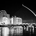 View Of The Samuel Beckett Bridge Over The River Liffey And The Convention Centre Dublin At Night Du by Joe Fox