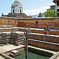 View Of White Temple From Pool Area Behind Bhaktapur Durbar Square In Bhaktapur-nepal - by Ruth Hager