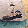 Vigilant Crab Fishing Boat Nautical Chart Art by Cathy Peek