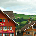 Hotel Santis And Hillside Of Appenzell Switzerland by Ginger Wakem