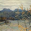 Village In The Ural Mountains by Apollinari Mikhailovich Vasnetsov