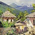 Village Scene In The Mountains by Nikolay Dubovskoy