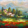 Village With Poppy Fields  by Regina Femrite