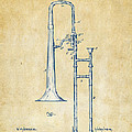 Vintage 1902 Slide Trombone Patent Artwork by Nikki Marie Smith