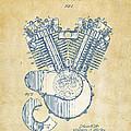 Vintage 1923 Harley Engine Patent Artwork by Nikki Marie Smith