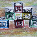 Vintage Abc Wooden Blocks by Kathy Marrs Chandler