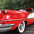 Vintage American Car - Red And White 1955 Oldsmobile Convertible Classic Car by Kathy Fornal