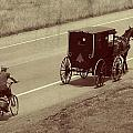 Vintage Amish Buggy And Bicycle by Dan Sproul