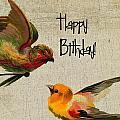 Vintage Birthday Birds by Cassie Peters