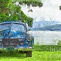 Vintage Blue Caddy At Lake George New York by Edward Fielding