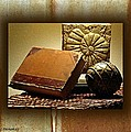 Vintage Book Fossil And Carved Orb by Ellen Cannon
