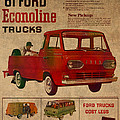 Vintage Car Advertisement 1961 Ford Econoline Truck Ad Poster On Worn Faded Paper by Design Turnpike