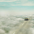 Vintage Car Driving Into Clouds by Jill Battaglia