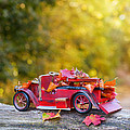 Vintage Car With Autumn Leaves by Amanda Elwell
