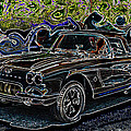 Vintage Chevy Corvette Black Neon Automotive Artwork by Lesa Fine