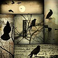 Vintage Crow Art Collage by Gothicrow Images