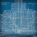 Vintage Detroit Rail Concept Street Map Blueprint Plan by Design Turnpike