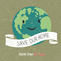 Vintage Earth Day Poster. Cartoon Earth by Pashabo