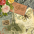 Vintage Eiffel Tower Paris France Collage by Mary Hubley