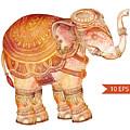 Vintage Elephant Illustration. Hand by Polina Lina