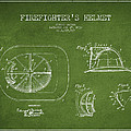Vintage Firefighter Helmet Patent Drawing From 1932 - Green by Aged Pixel