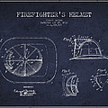 Vintage Firefighter Helmet Patent Drawing From 1932 - Navy Blue by Aged Pixel