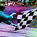 Vintage Formula 1 Race Checkered Flag  by George Pedro