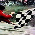 Vintage Formula Race Checkered Flag by George Pedro